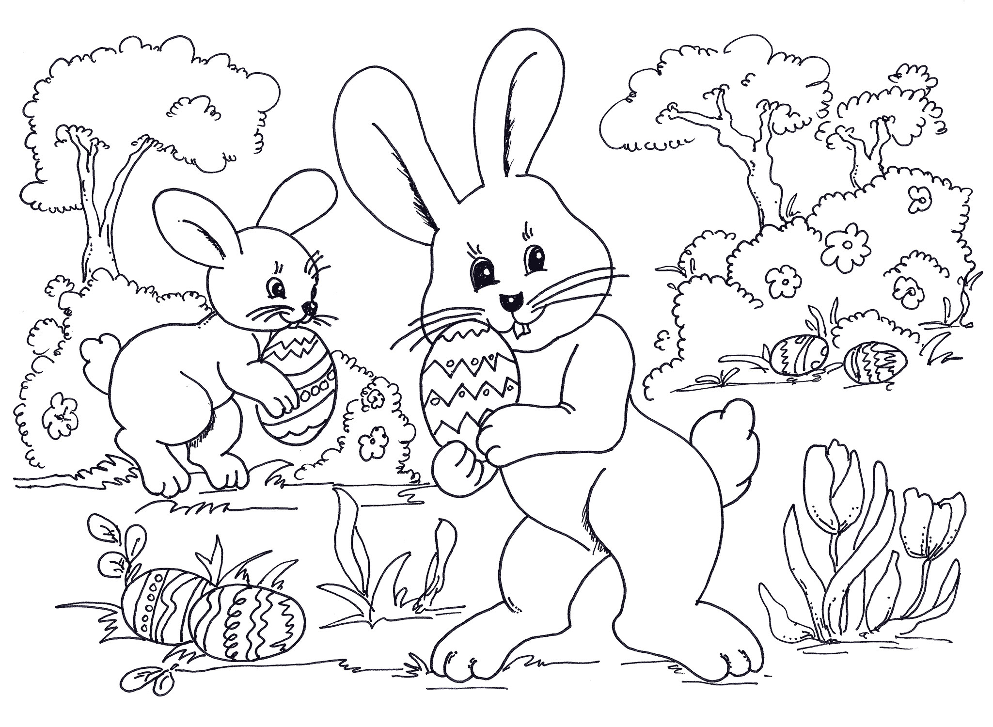 Bunny Easter Coloring Pages Printable