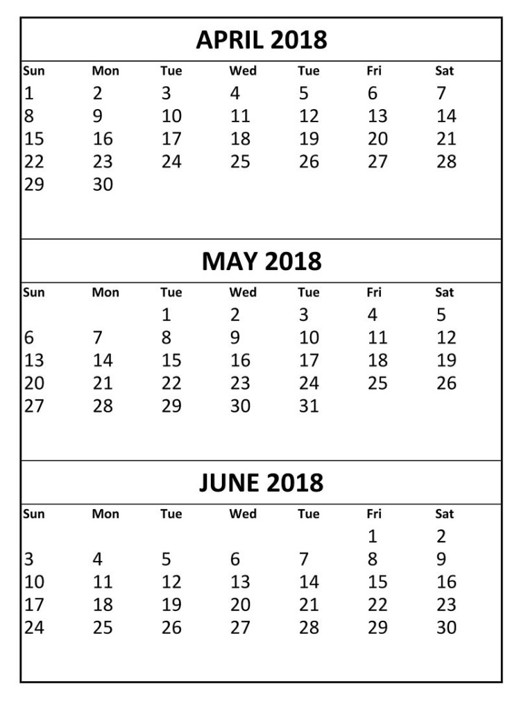 Calendar 2018 April May June