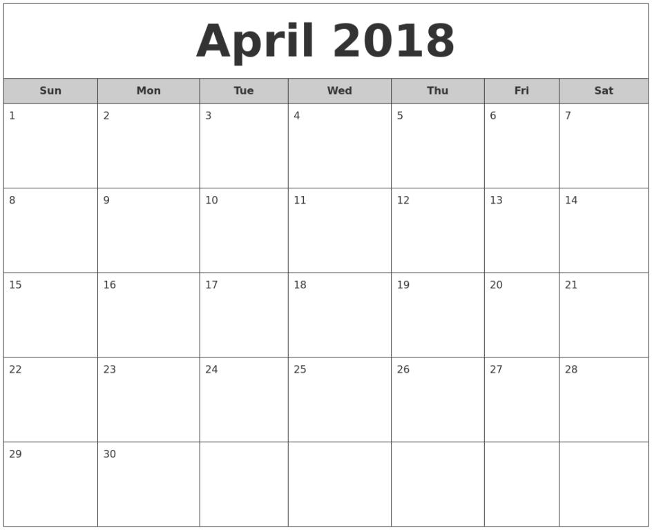 Calendar 2018 April Monthly