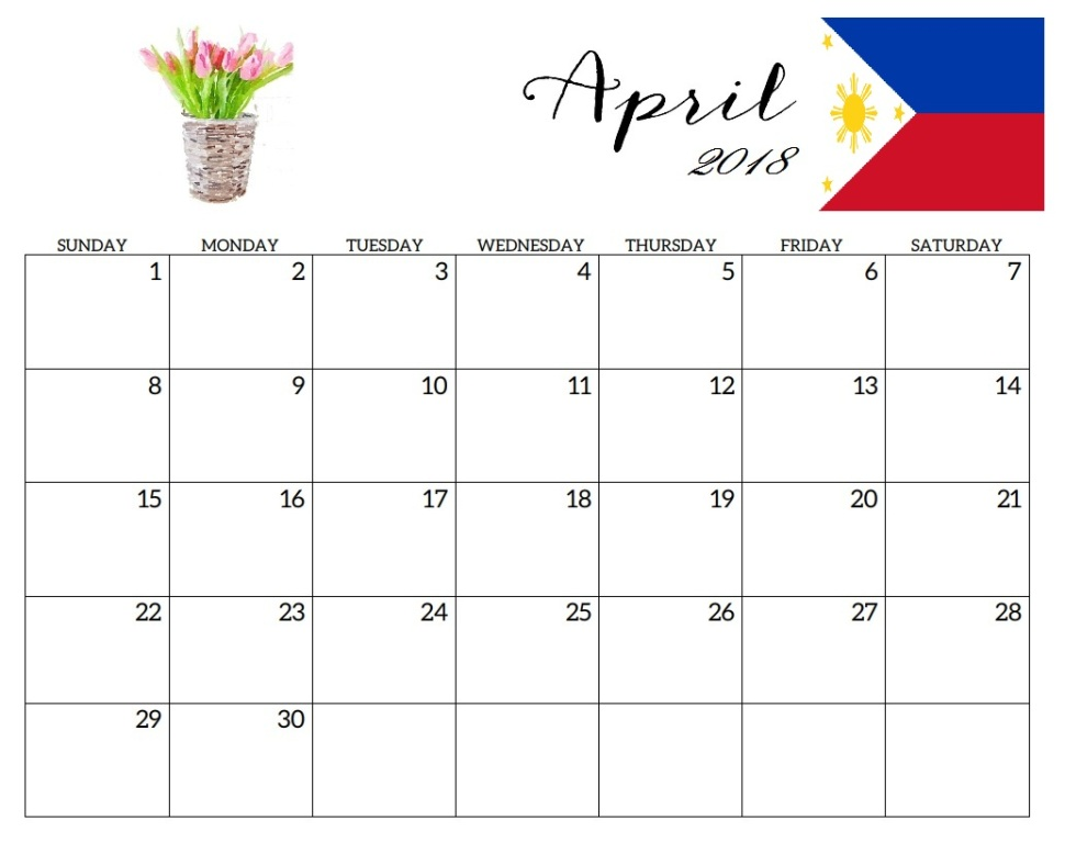 Calendar 2018 April Philippines