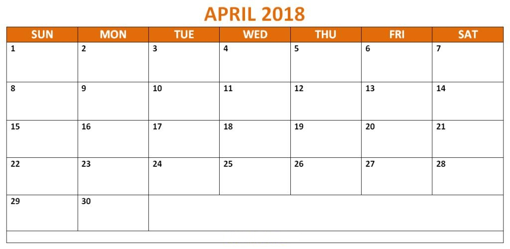 Calendar 2018 April With Note