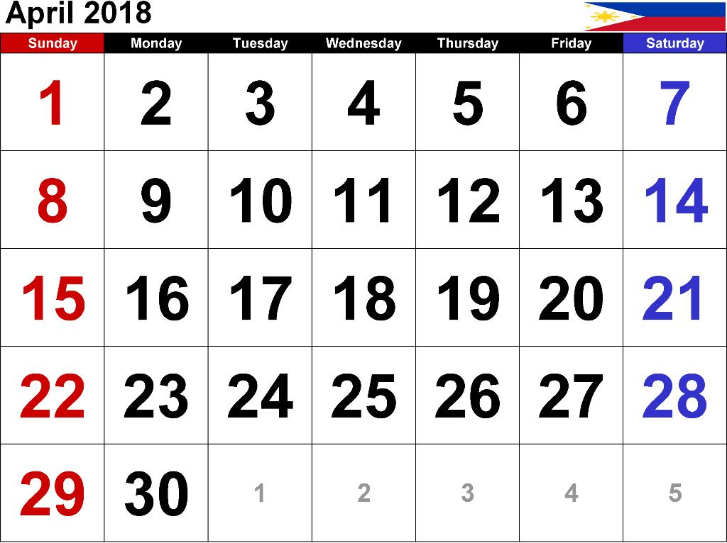 Calendar April 2018 Philippines