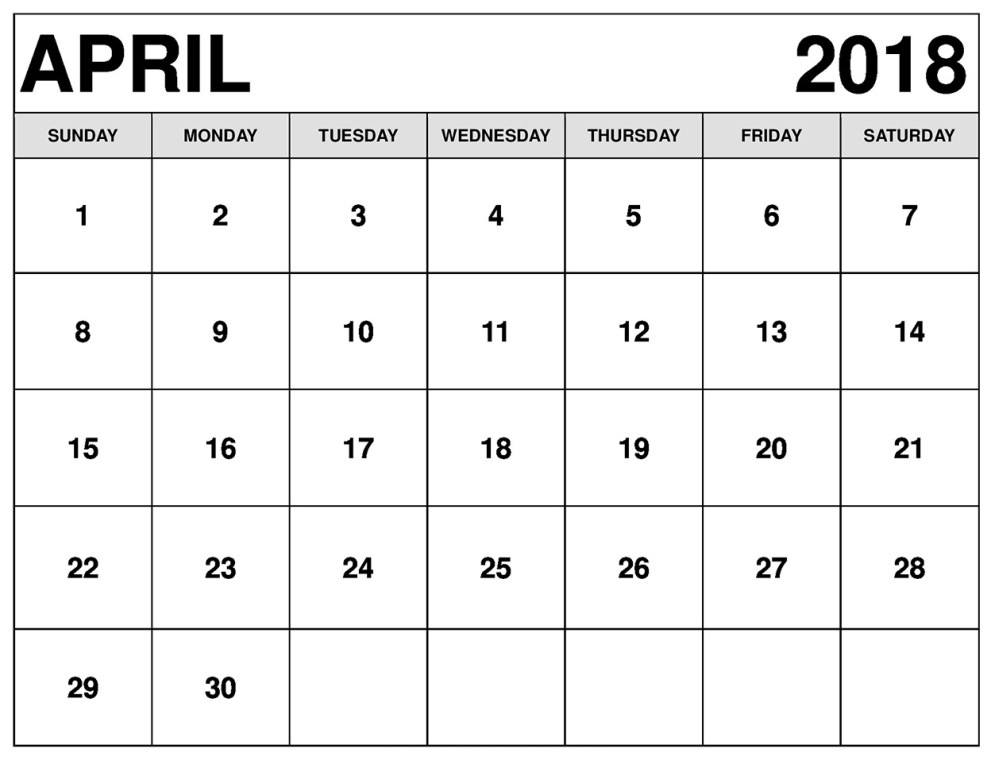 Calendar April 2018 Printable Template