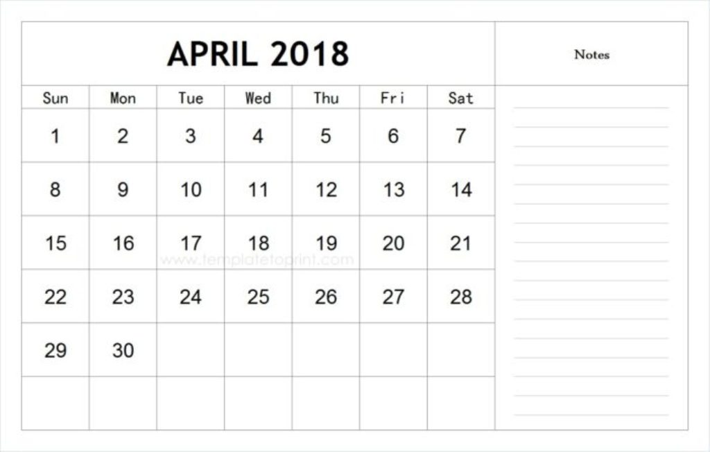 Calendar April Month 2018 Printable