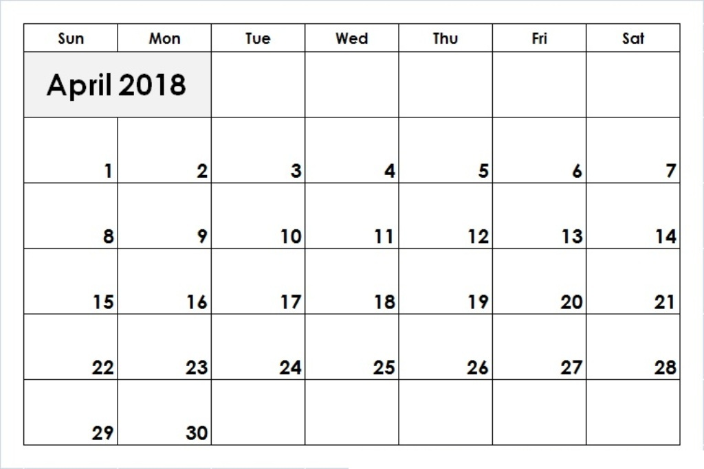 Calendar For April 2018 Printable