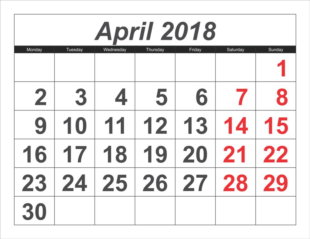 Calendar of April 2018 Month