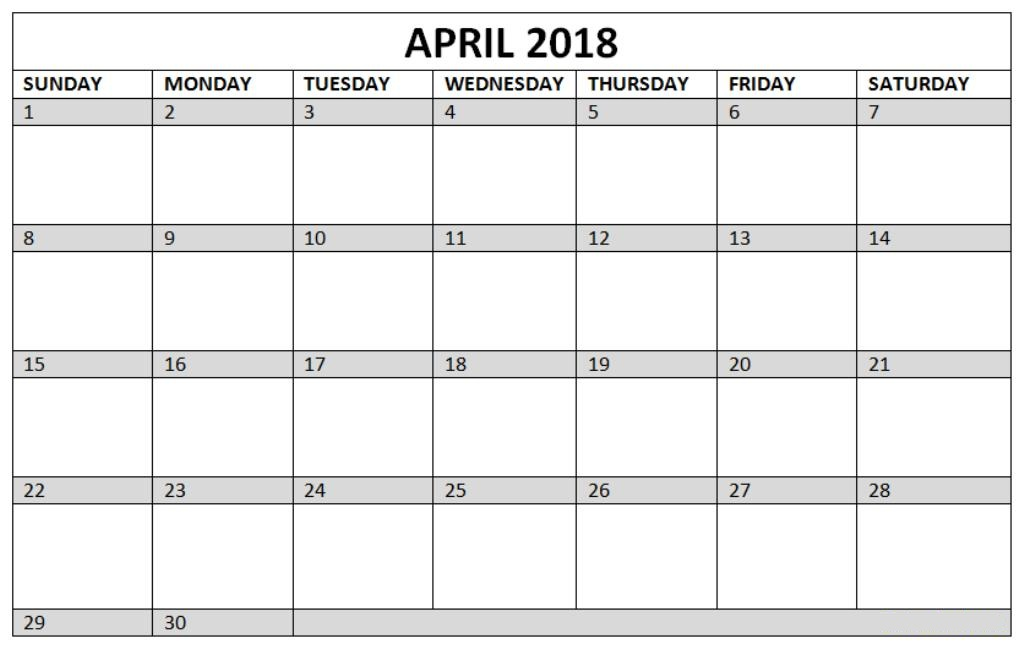 Calendar of April 2018 Printable