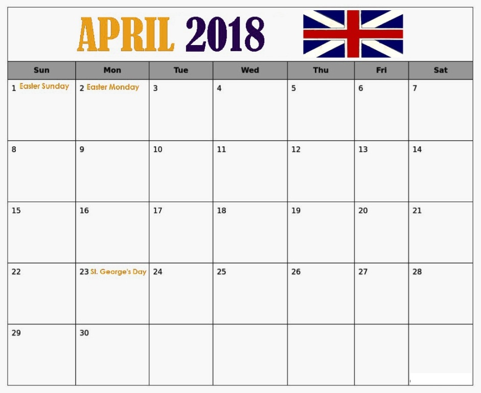 Calendar of April 2018 UK