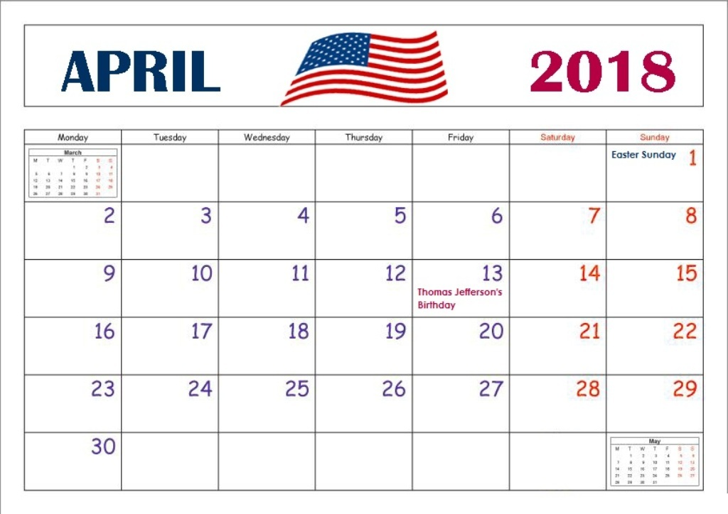Calendar of April 2018 USA