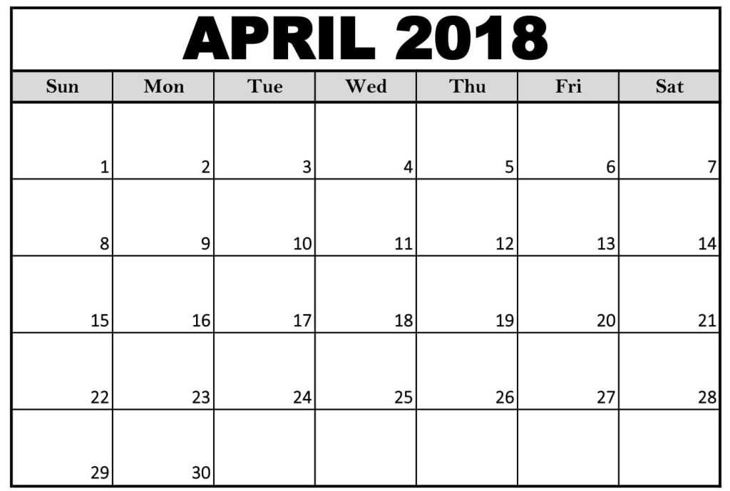 Calendar of April 2018 Word