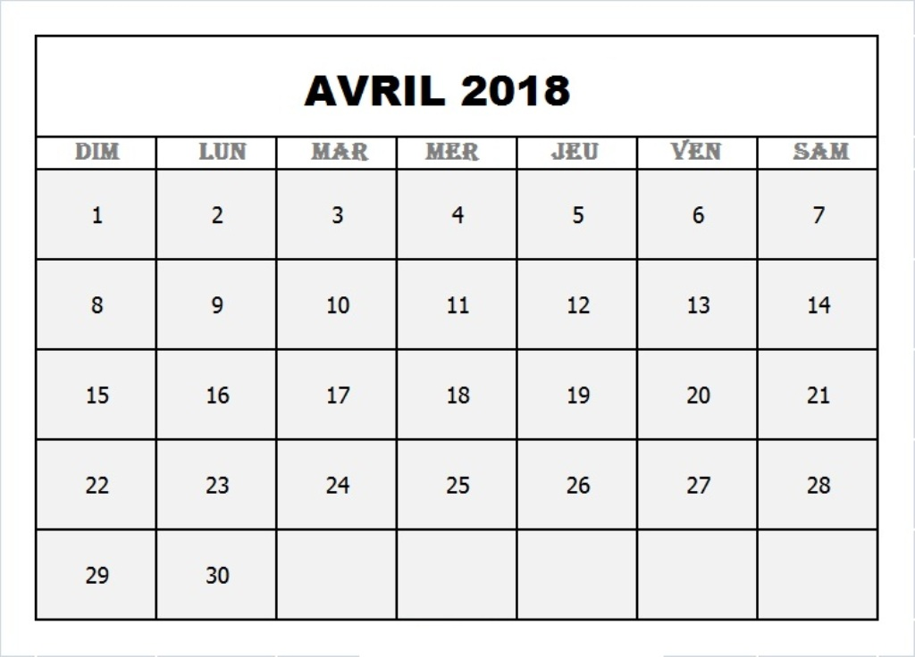 Calendrier Avril 2018 Excel