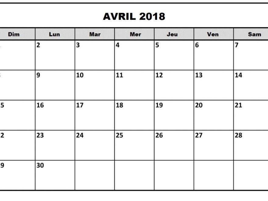 Calendrier Avril 2018 Word
