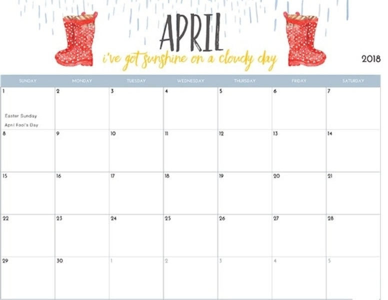 Cute Calendar April 2018 Printable