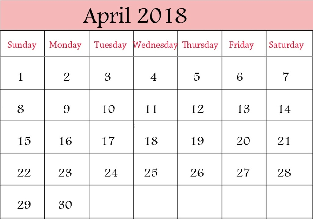 Cute Calendar of April 2018