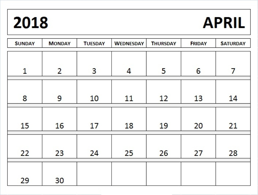 Desk Calendar April 2018 Printable