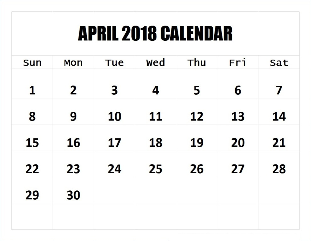 Editable Calendar of April 2018