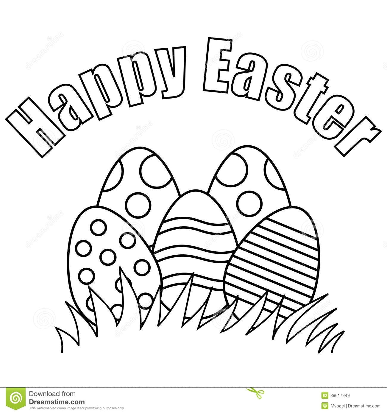 Happy Easter Clip Art Black And White