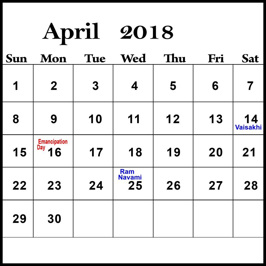 Holidays In April 2018 Calendar