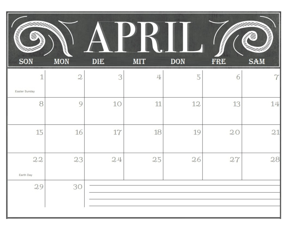 Kalender April 2018 Drucken