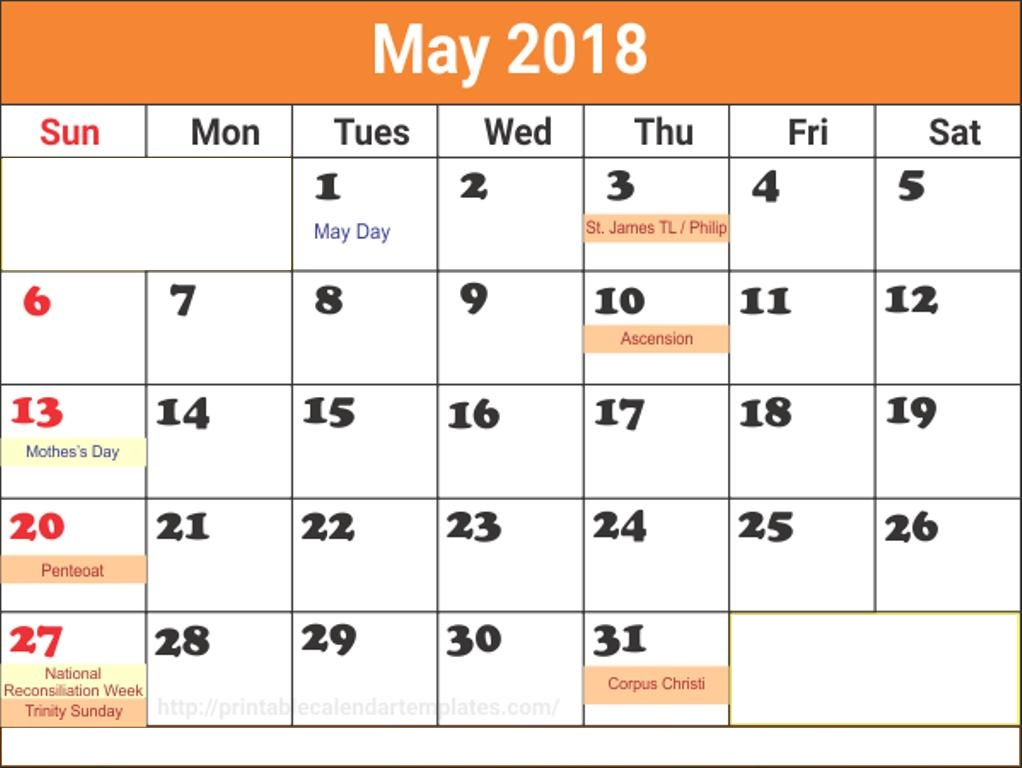 May 2018 Calendar With Holidays Dates