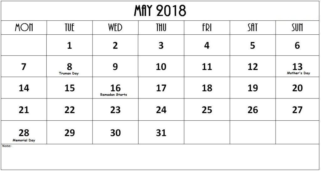 May 2018 Calendar With Holidays List