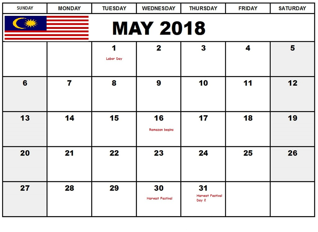 May 2018 Calendar With Holidays Malaysia