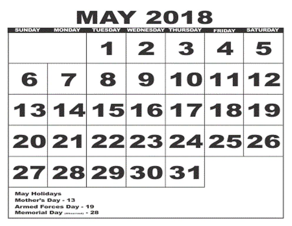 May 2018 Calendar With Holidays Print