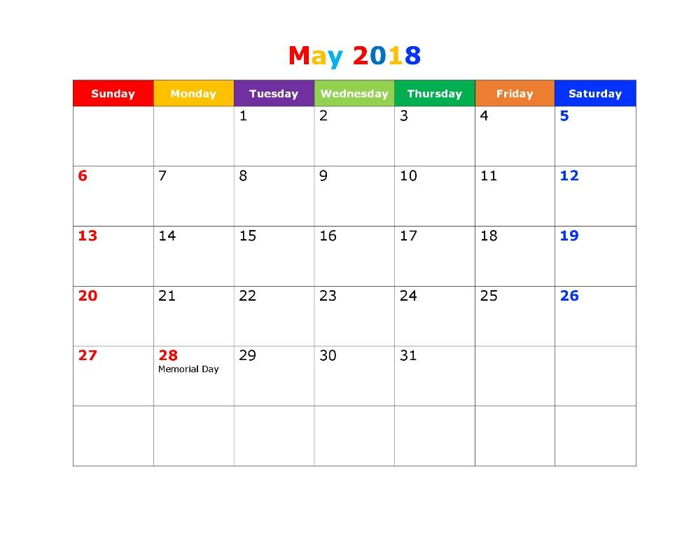 May 2018 Calendar With Holidays Template