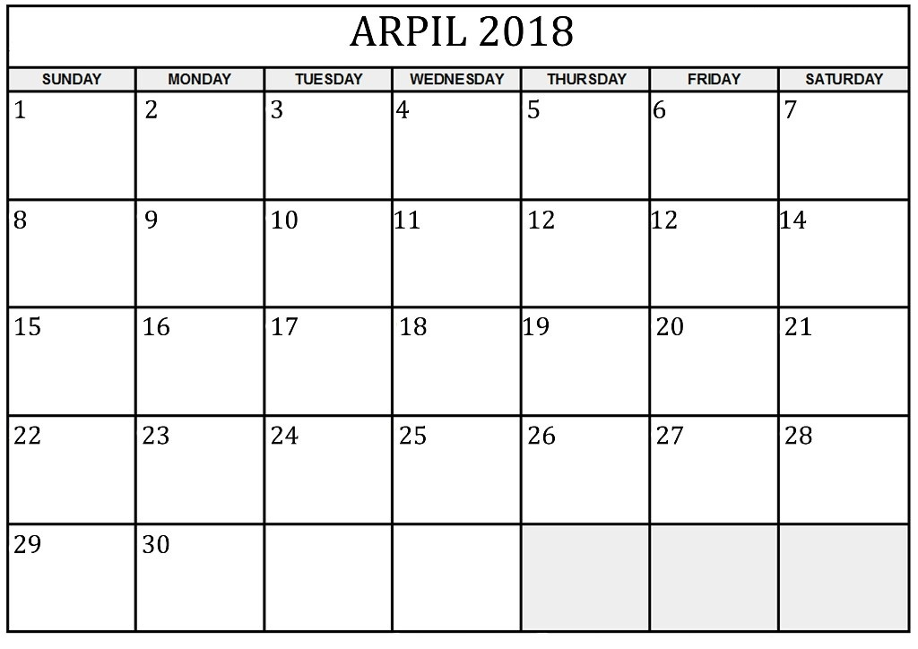 Monthly Calendar 2018 April