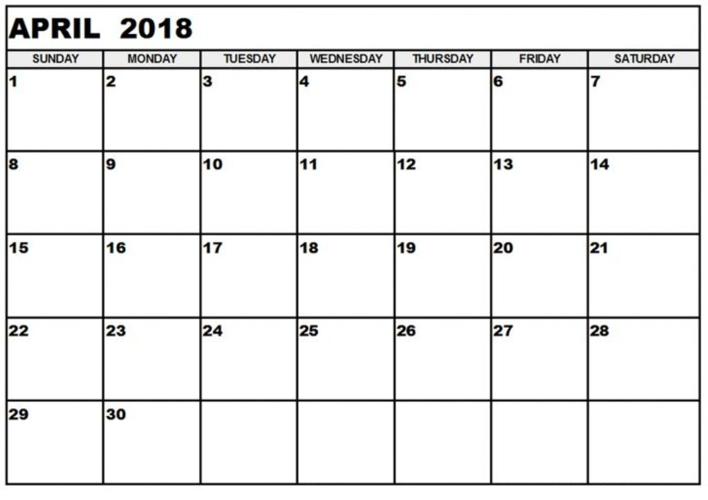Monthly Calendar April 2018 Printable Template