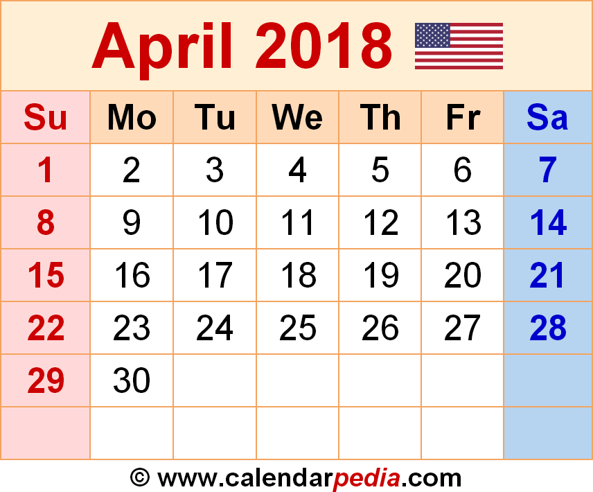 Monthly Calendar April 2018 with Holidays