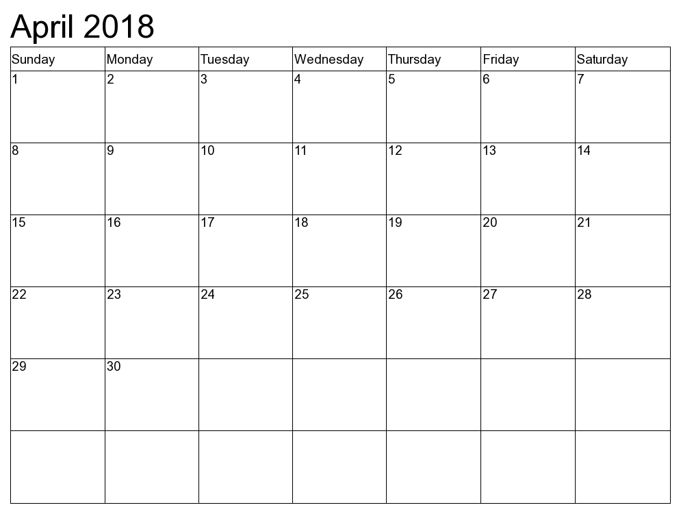 Monthly Calendar April 2018