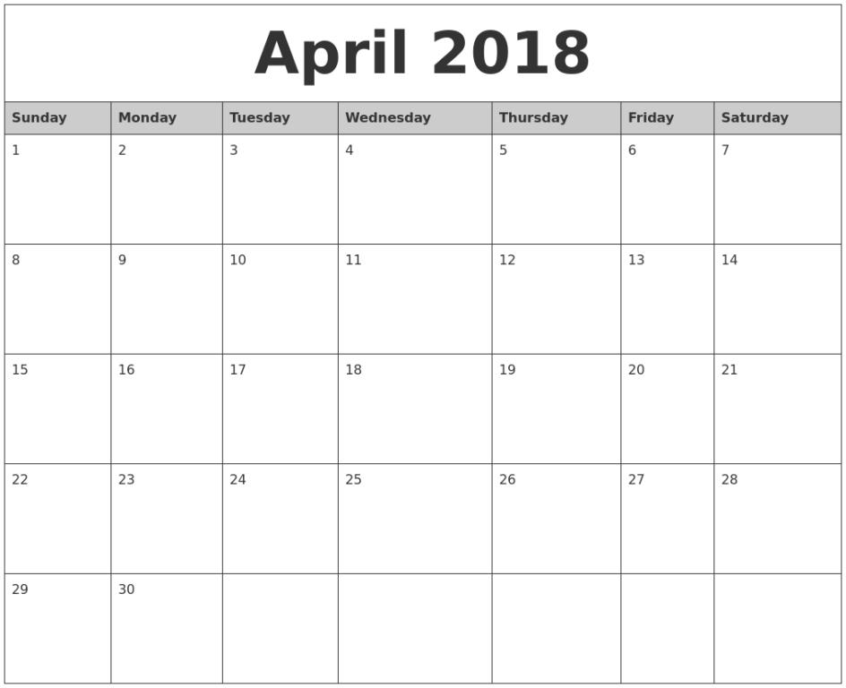 Monthly Calendar of April 2018