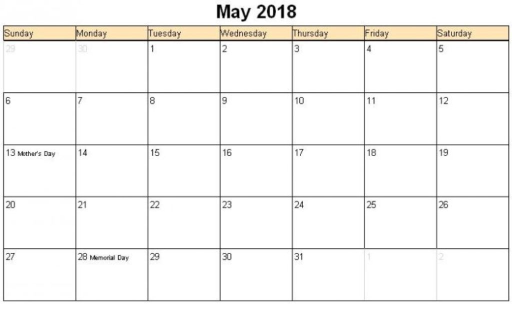 National May Holidays 2018 Calendar
