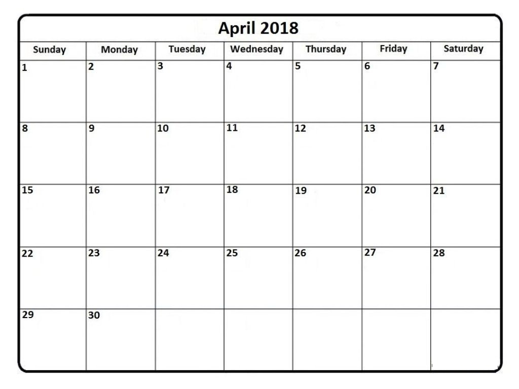 Online April 2018 Calendar Printable