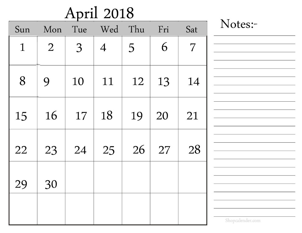 Online Calendar April 2018 Printable