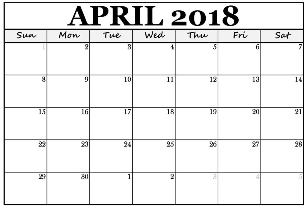 Printable April 2018 Calendar Template