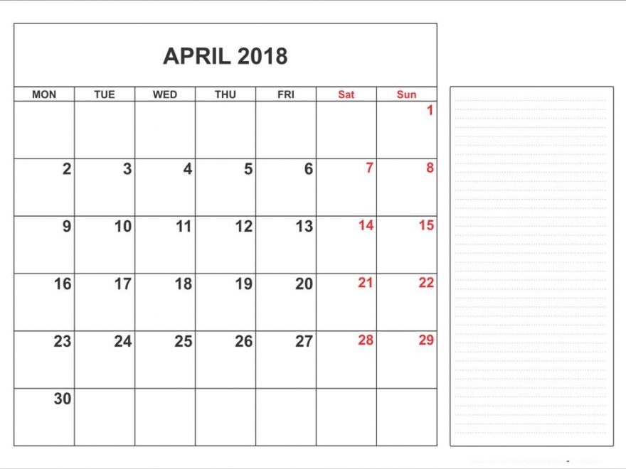 Printable April 2018 Calendar With Notes
