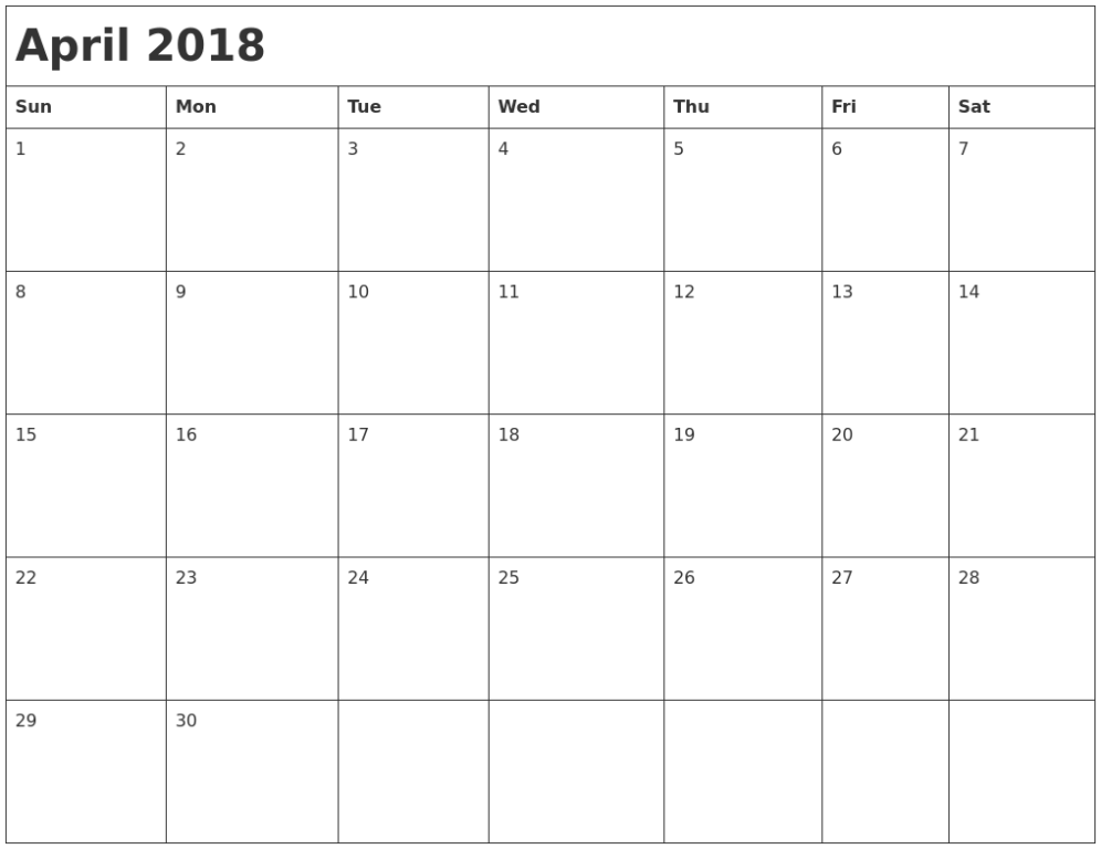 Printable April Month Calendar 2018