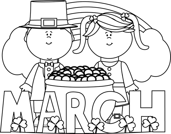 St Patricks Day Black and White Clipart
