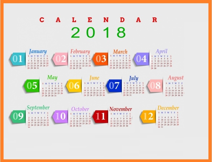 12 Month Calendar 2018 Multicolored Modern Design