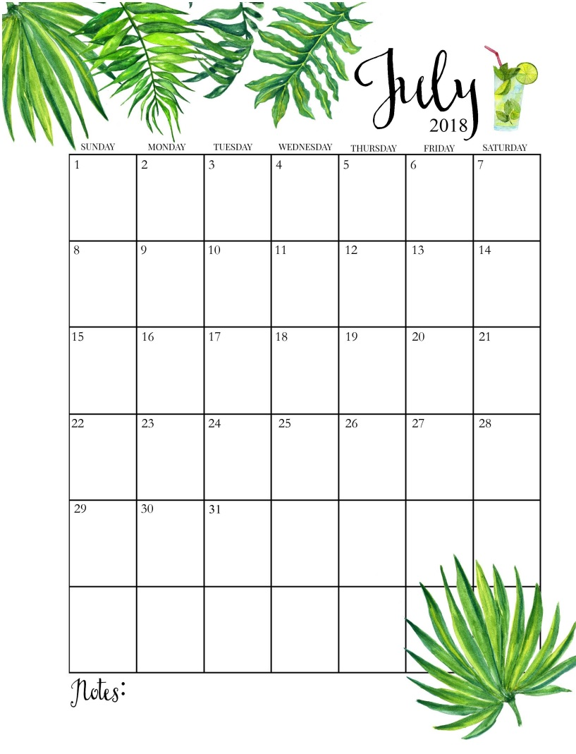 2018 Blooming Floral July Calendar