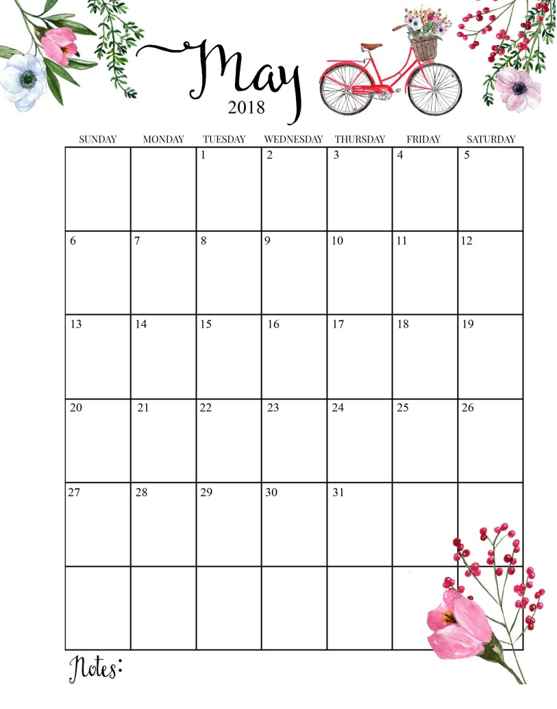 2018 Blooming Floral May Calendar