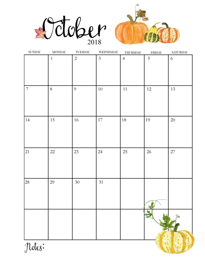 2018 Blooming Floral October Calendar