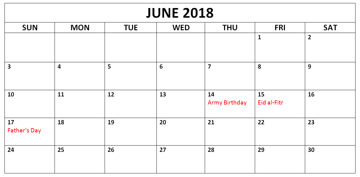 2018 June Calendar Holidays