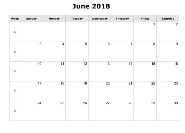 2018 June Monthly Calendar