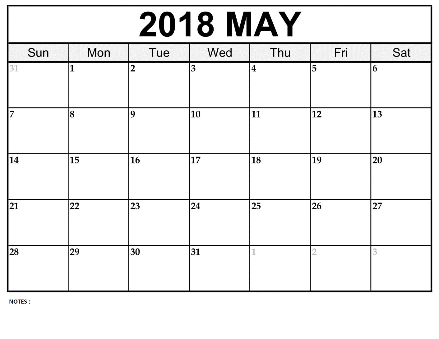 2018 May Calendar With Notes