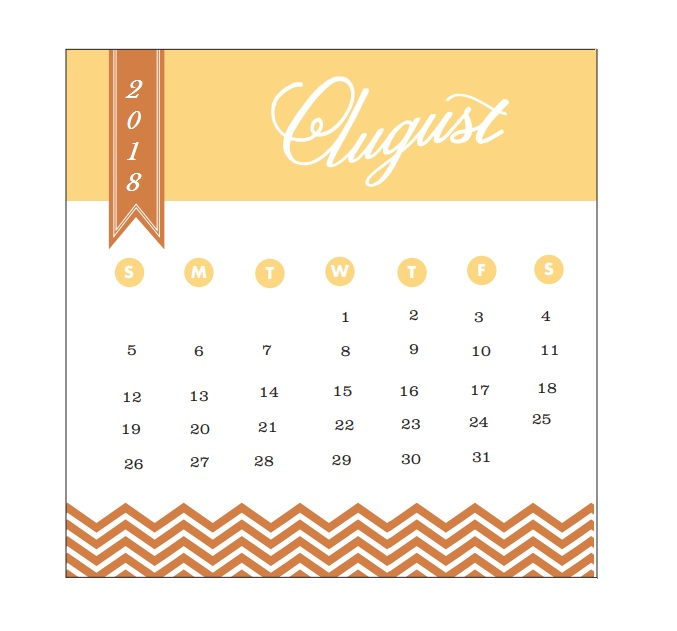 2018 Monthly Printable Calendar August