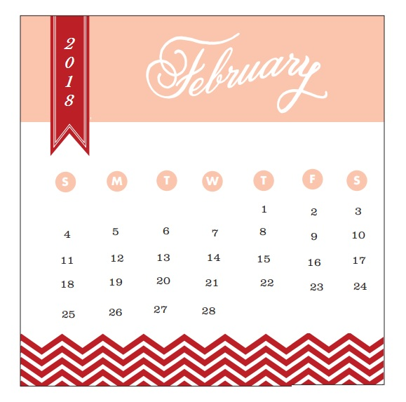 2018 Monthly Printable Calendar February