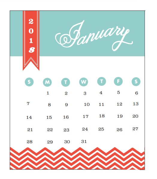 2018 Monthly Printable Calendar January 2018